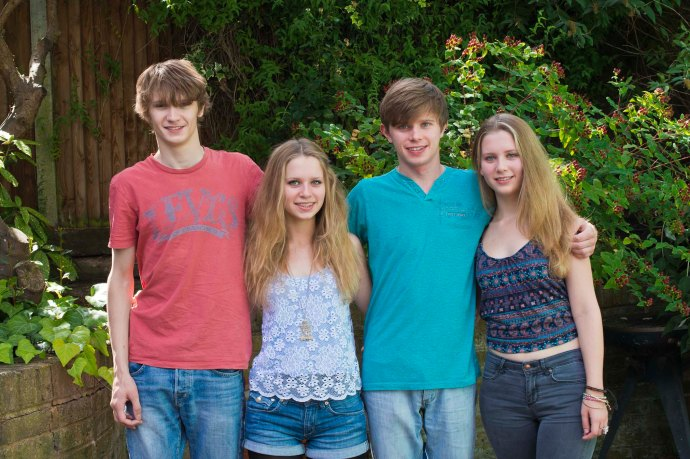 My teens... from left: Tom, Rosa, Oscar, Kate.  Blogged 26/01/14.